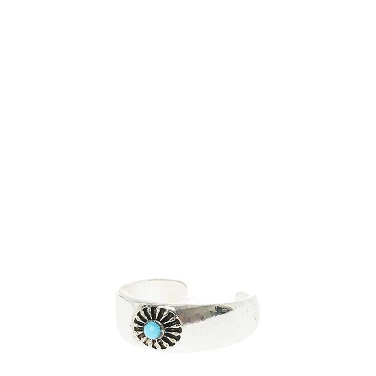 Turquoise Pendant Silver Tone Toe Ring,