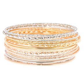 Mixed Metal Bangle Bracelets - 15 Pack,