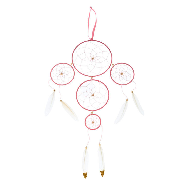 Gold Beaded Dreamcatcher Wall Art - Pink,