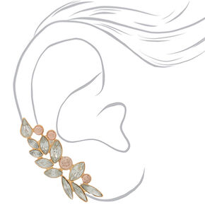 "Gold 2"" Crystal Ear Crawler Earrings,"