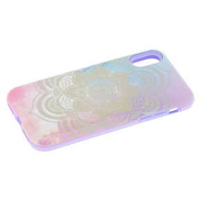 Pastel Holographic Mandala Protective Phone Case - Fits iPhone X/XS,