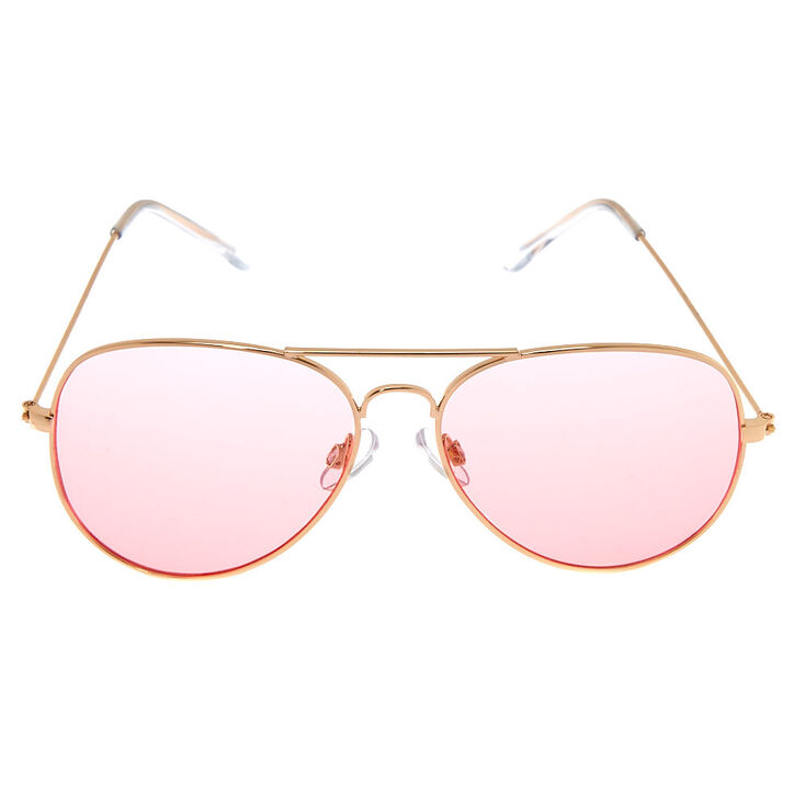 Pink Tinted Aviator Sunglasses - Gold,