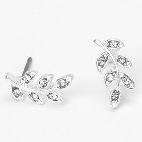 Silver Crystal Leaf Stud Earrings,