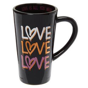 Love Hearts Ceramic Mug - Black,