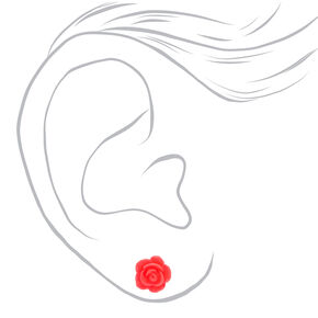 Sterling Silver Carved Rose Stud Earrings - Neon Pink,
