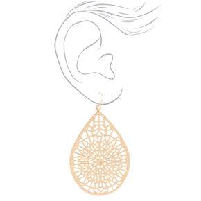 """Gold 3"""" Teardrop Drop Earrings,"""
