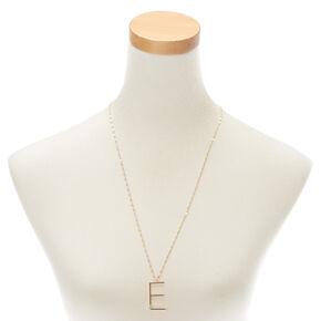 Gold Large Initial Pendant Necklace - E,