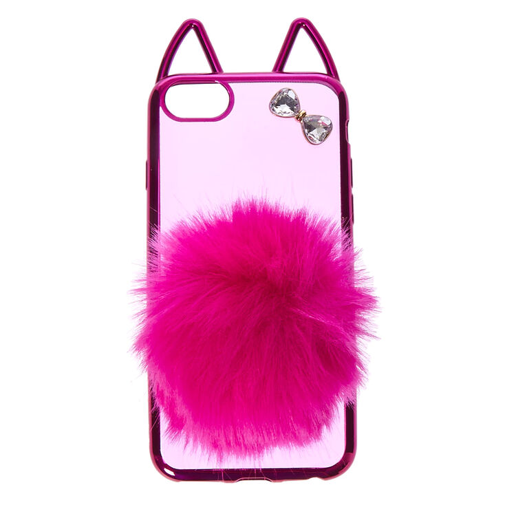 Hot Pink Cat with Pom Tail Phone Case - Fits iPhone 6/7/8 Plus,