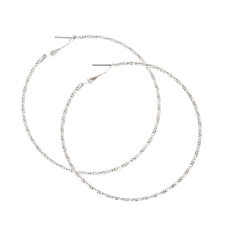 70MM Textured Silver Tone Hoop Earrings,