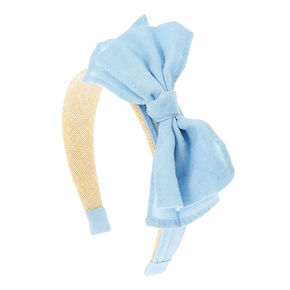 Light Blue Denim Bow & Straw Headband,