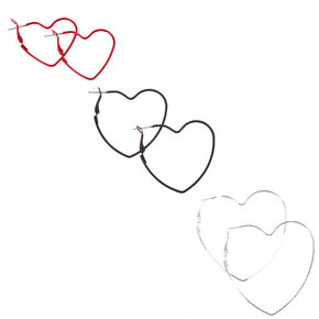 Silver Graduated Heart Hoop Earrings - 3 Pack,