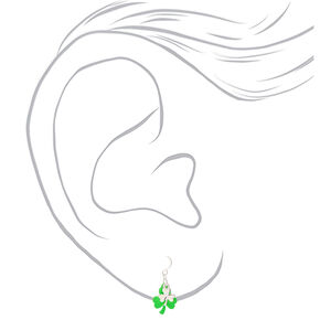 "Silver 1"" Layered Shamrock Drop Earrings - Green,"