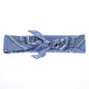 Paisley Bandana Headwrap - Chambray Blue,