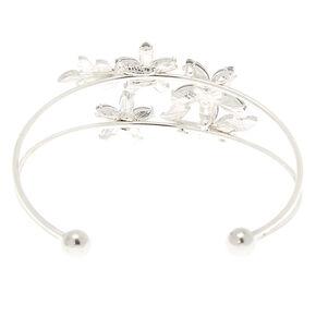 Silver Rhinestone Floral Cuff Bracelet,