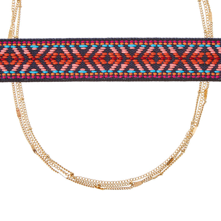 Tapestry Design Multi-Strand Choker Necklace,