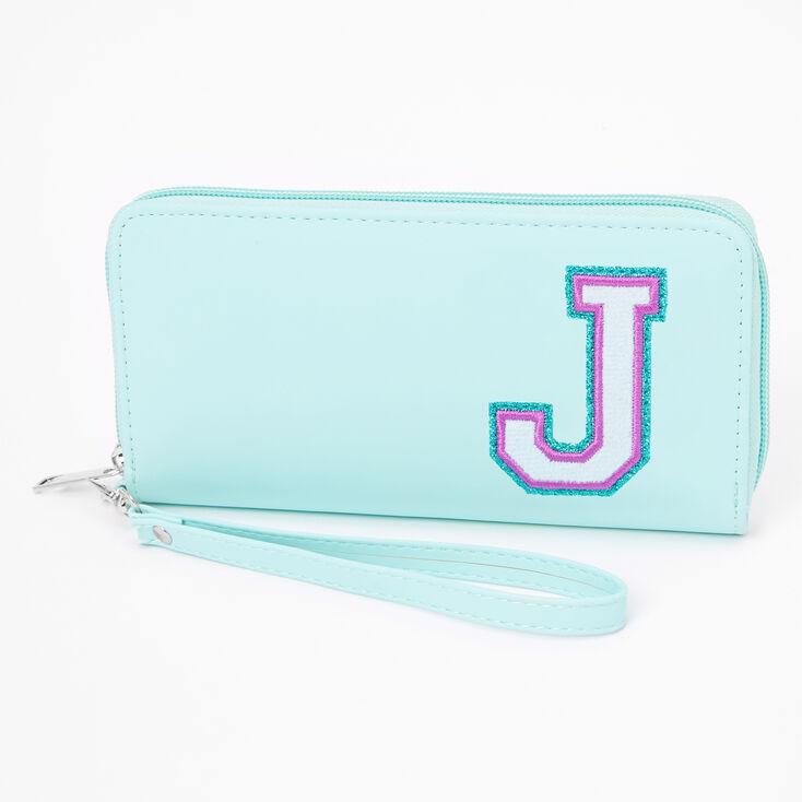 Mint Varsity Initial Wristlet - J,