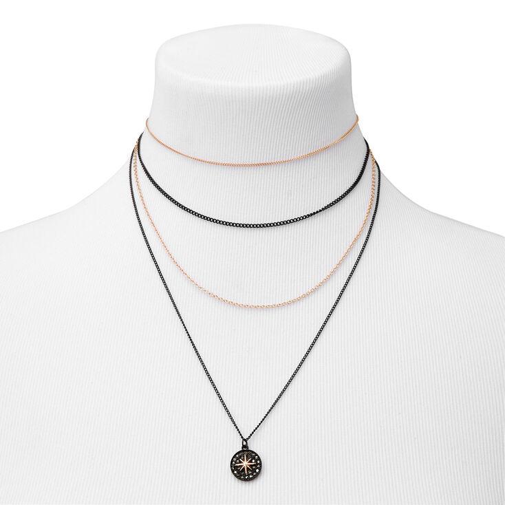 Starburst Mixed Metal Multi Strand Necklace,