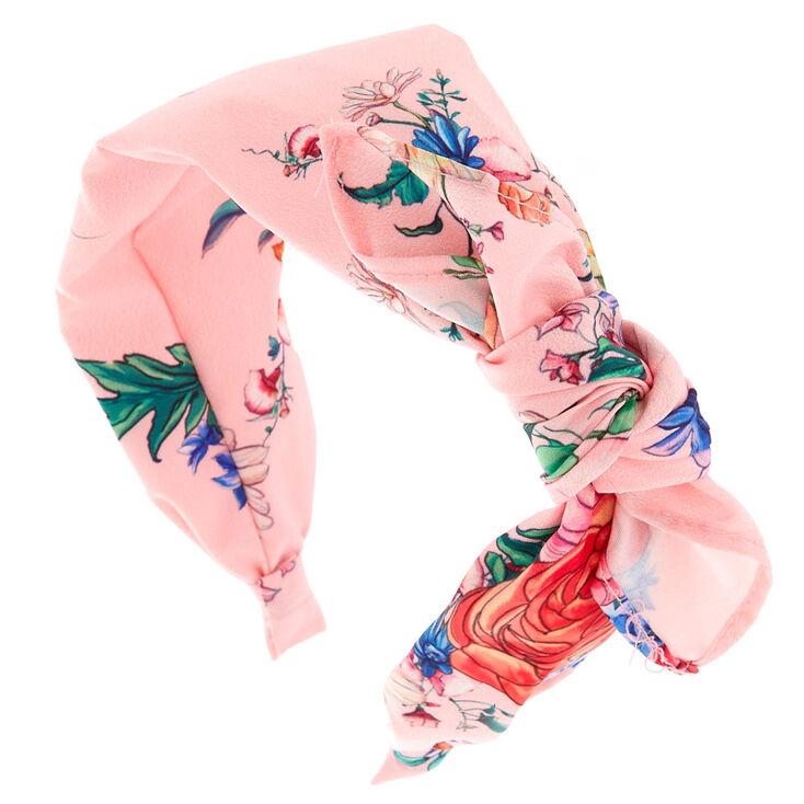 Rose Print Bow Headband - Pink,