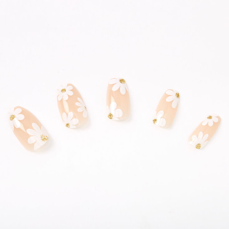 White Daisy Coffin Faux Nail Set - Nude, 24 Pack,