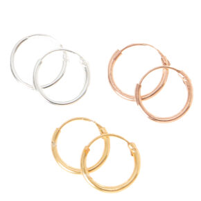 Mixed Metal Toned Sterling Silver Endless Closure Hoops,
