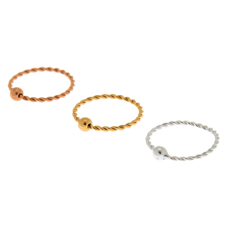 Mixed Metal Sterling Silver 22G Twisted Cartilage Hoop Earrings - 3 Pack,
