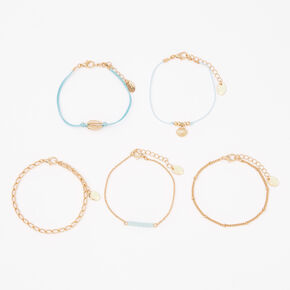 Gold Mixed Seashell Chain Bracelets - Mint, 5 Pack,