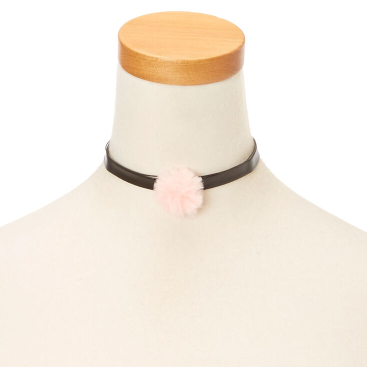 Black Leather Pink Pom Choker,
