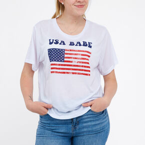 USA Babe Short Sleeve Top - White,