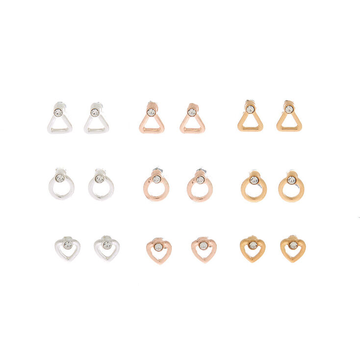 Mixed Metal Geometric Shape Stud Earrings - 9 Pack,