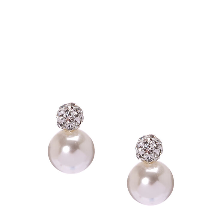 Sterling Silver Fireball Pearl Stud Earrings,