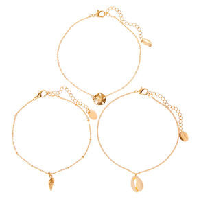 Gold Mixed Seashell Chain Anklets - 3 Pack,