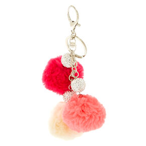 Pink Pom Pom And Fireball Keyring,