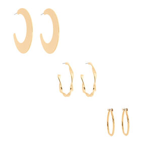 Gold Graduated Mixed Textured Hoop Earrings - 3 Pack,