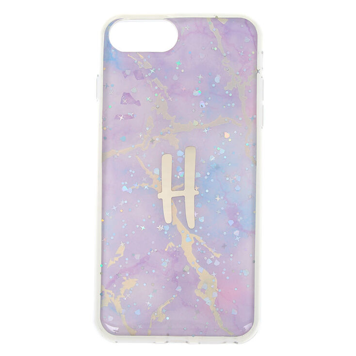 Lilac Marble Glitter H Initial Phone Case - Fits iPhone 6/7/8 Plus,