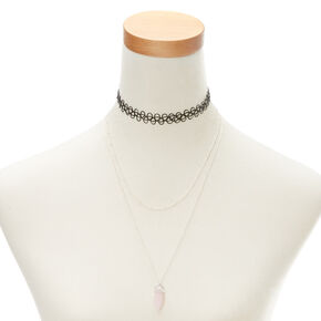Rose Quartz Stone Necklace Set,