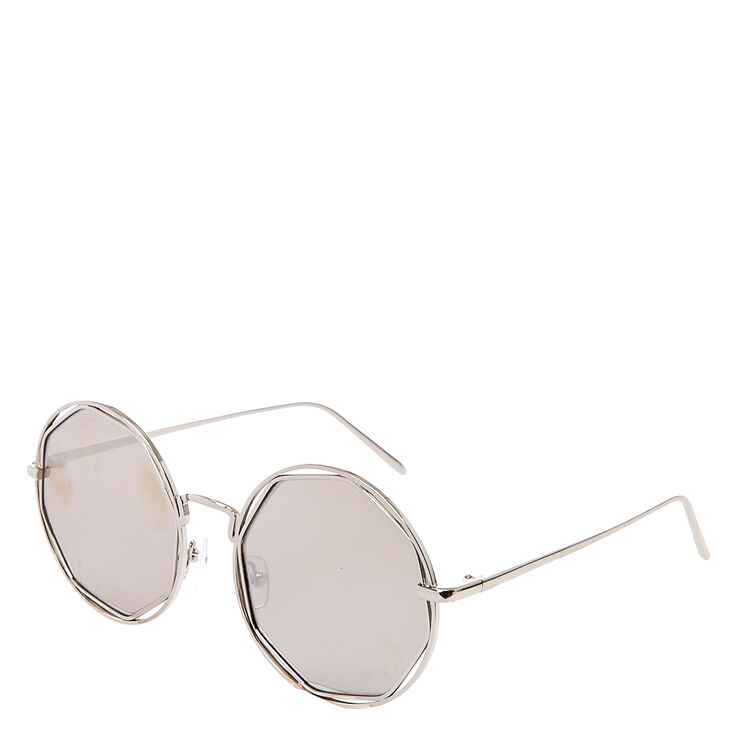 Round Silver Mirror Sunglasses,