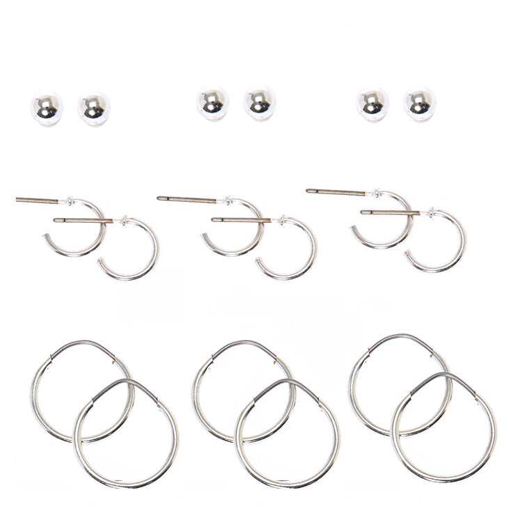 Silver Tone Ball Stud & Half Hoop Earrings,