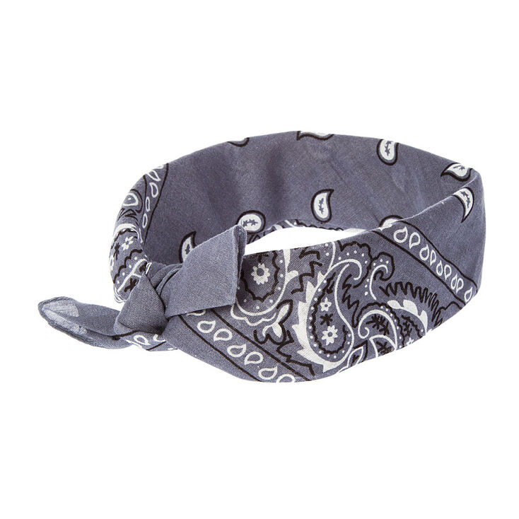 Gray Bandana 3 Way Headwrap,