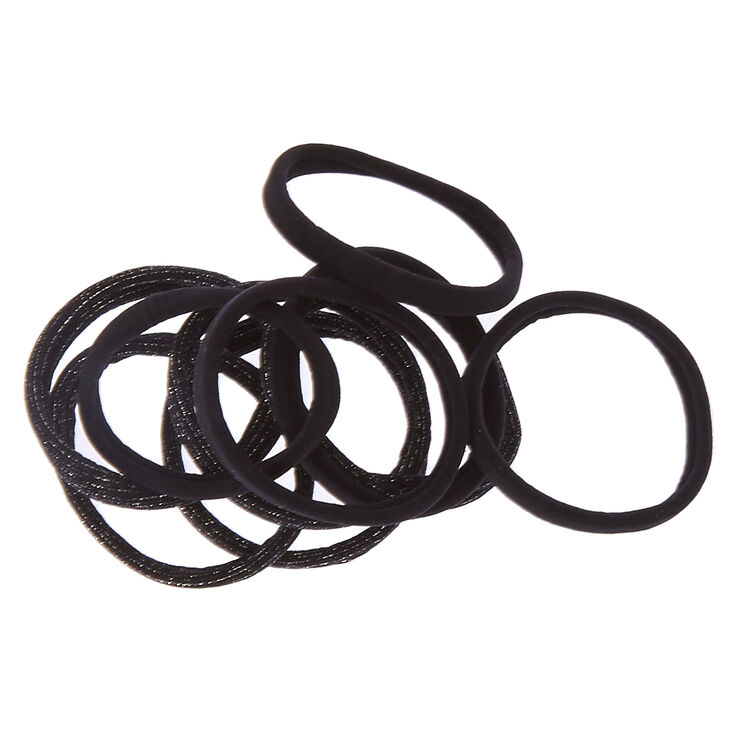 Black Glitter Rolled Hair Ties,
