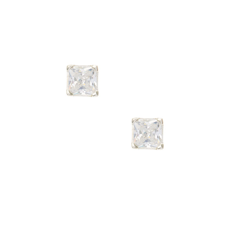 Cubic Zirconia Sterling Silver Earrings,