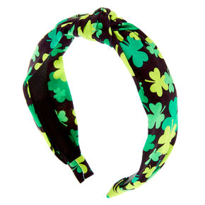 Shamrock Knotted Headband - Black,