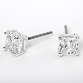Silver Cubic Zirconia 5MM Square Stud Earrings,