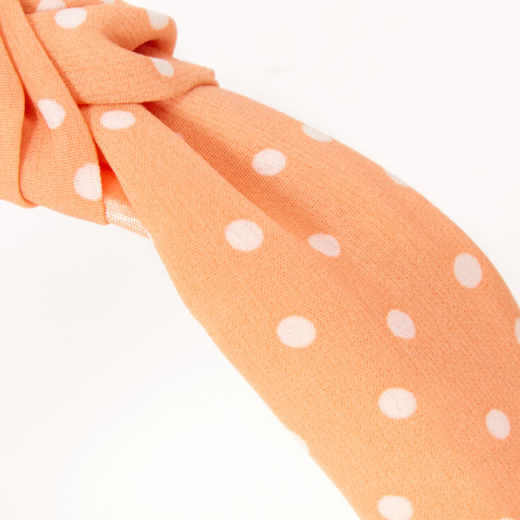 Polka Dot Knotted Headband - Peach,