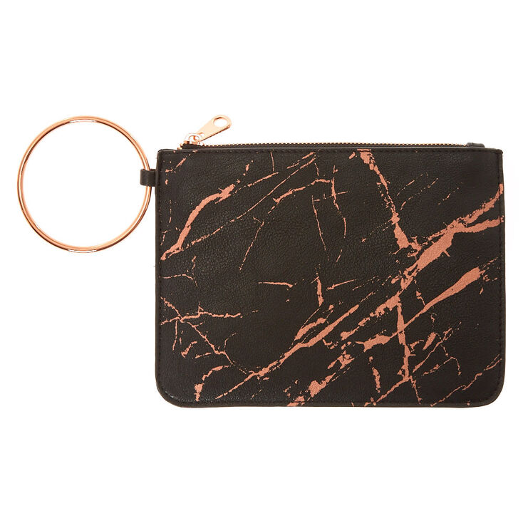 Black & Rose Gold Marble Ring Clutch,