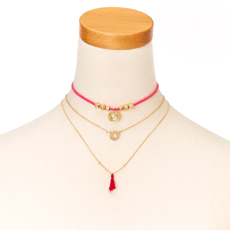 Pink Cord & Gold Tone Chain Choker Necklace,