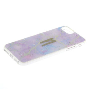 Lilac Marble Glitter N Initial Phone Case - Fits iPhone 6/7/8 Plus,