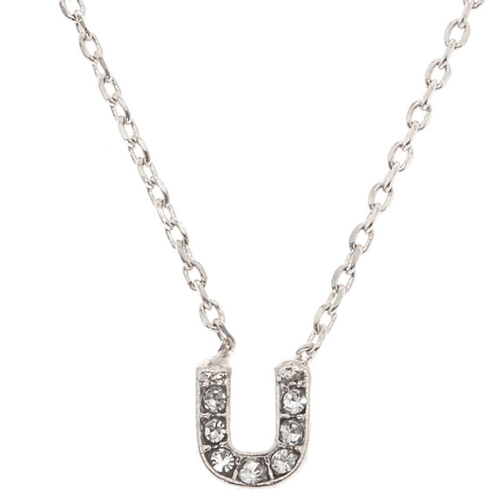 "Silver Studded ""U"" Initial Necklace,"