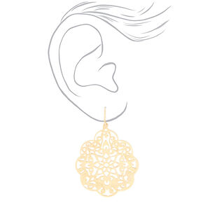 "Mixed Metal 1.5"" Filigree Drop Earrings - 3 Pack,"