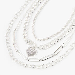Silver Heart Toggle Chain Multi Strand Necklace,