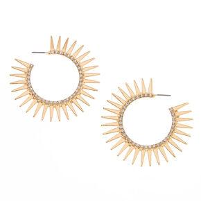 Gold-Tone Sunburst Hoop Earrings,